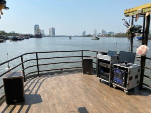 Sound system at the front upper deck of Sabai Boat. 2 additional speaker at the back